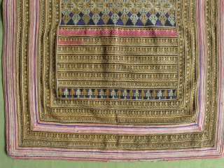 """A panel from an ethnic Chinese Miao minority dress fragment or apron. Circa 1920-30. Size: 48 cm x 60 cm (19"""" x 24"""")."""