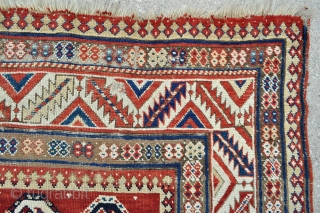 Caucasian Kazak Rug, restoreable & reasonable, can send additional photos, couldn't add more then 5 here for some reason - about 4'8 x 8'4 / 142 x 254 cm.