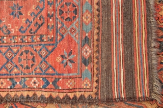 Early Ersari Main Carpet with 2 x 6 large Guls, nice long kilim ends, good variety of border & secondary filler motifs, worn but all original sides and ends, has no old  ...