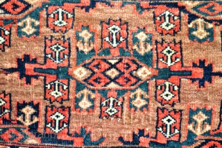 "Yomud or Chodor Torba - asymmetrical knots open left, very nice border & good colors including green & yellow. 31"" x 15"" - 79 x 38 cm. - 3rd quarter of 19th  ..."