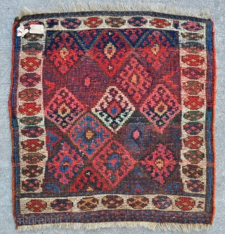 """Super Juicy Jaff Bagface with super colors including a very nice aubergine... - 24"""" x 24"""" - 60 x 61 cm. - see link for details - http://www.yorukruggallery.com/product/antique-kurdish-jaff-bagface-24-x-24-60-x-61-cm/"""