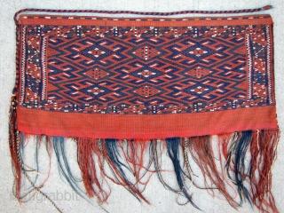 "Yomud Turkmen Torba, complete with plain kilim back - 32"" x 15"" - 81 x 38 cm. - not including tassels."