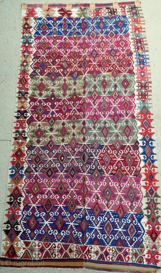 Southeast Anatolian Kilim with crisp natural colors, few small old repairs but great overall condition, most whites are cotton, some are wool and some blended wool and cotton. Previous owner was hanging  ...