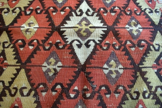 "Small Central Anatolian ""Elibelinde"" Kilim with all natural colors including aubergine and shades of apricot/orange in good condition, probably 3rd quarter of 19th c. 3'0 x 4'10 ft. - 92 x 147  ..."