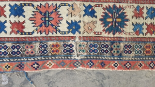 A fine mid 19th century shirvan great oldvpuece. 230x110 . Lovely colours some wear and one hole and a rejoined tension cut to the top border but generally a great rug of  ...