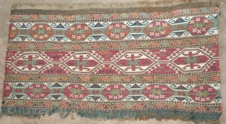 Here is a beautiful old 19th. century Caucasian    mafrash panel. Very fine soumak weaving and in   good condition. Natural colors with the whites     ...