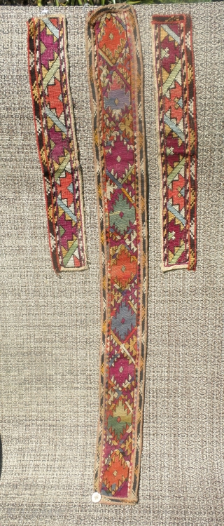 """Here is a beautifull old Kirgiz embroidered belt. Measureing      30"""" long and 3"""" wide this belt is embroidered in at least  ..."""