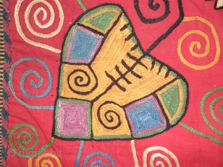 """A fantastic 19th.century Lakai at torba ilgich measuring 22"""" X 23"""". Embroidered silk on a red wool background, in vibrant natural colors of cobalt blue, emerald green, golden yellow, a lilac mauve (probably made from  ..."""