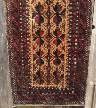 "Here is a lovely camel hair field Baluch balisht dating to around 1870/1880. Measuring 19"" x 38"" the balisht face is in very good condition with mostly full pile. Deep rich colors  ..."