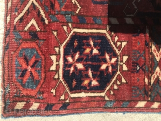 "Turkmen Tekke Main Carpet 6'1.5"" x 7'6.5"" with good age, glossy wool, with pre-waterbug stars in the border, and layout, deeply saturated colors that come from a small group of weavings referred  ..."