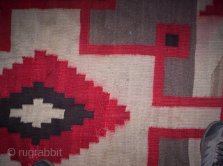 """The Rug Pickers find as found: A 1920's Navajo measuring 77""""x 53"""", has some bleeding, normal wear and tear associated with a textile of this age, both sides have the same intensity  ..."""