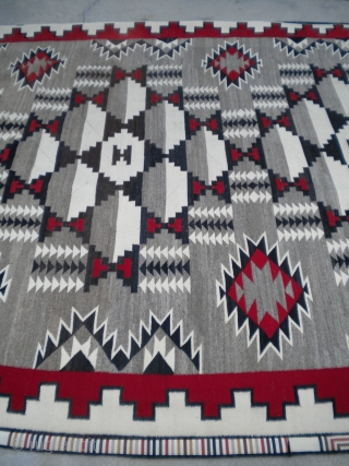 The Rug Pickers find as found: A vintage regional Navajo measuring 9x 12 in near mint condition...has a few spots that need to be removed....no bleeding, holes, tears, or old repairs.   ...