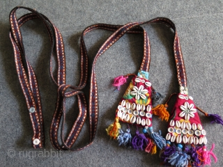 Anatolian two animal & tent bands decorated with shells and buttons.