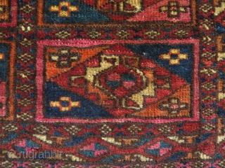 """Turkmen two torba fragments. Size 13"""" x 14"""" - 34 cm x 36 cm and 14.5"""" x 14.5"""" - 37 cm x 37 cm."""