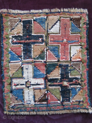 """Shahsavan sumak woven bag face, little old reapirs and wears, there is a fading in pale red color. Size : 8.5"""" X 7.5"""" - 22 cm X 19 cm"""