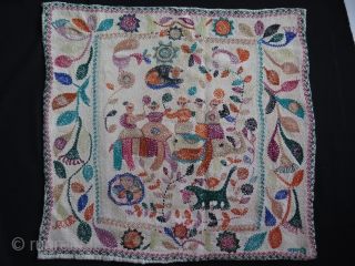 "West Bengal, Khanta- traditional ceremonial folk designs. silk embroidery on fine quilted  cotton. Size 18.5"" x 19"" - 47 x 48 cm."