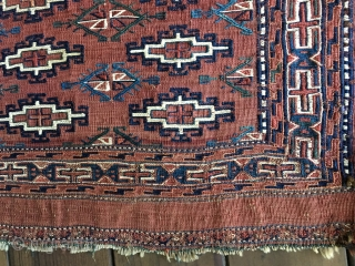 """Early Turkman Yomud kilim Chuval or wall bag with the embroidered design woven in the soumac technique. All natural colors with blues and green dominating. Measures appx. 4'X 2'7""""/122 X 76cm closed  ..."""