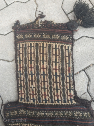 Nice collector´s item: Antique flatwoven doublesided Baluch saltbag or so called Namakdan.