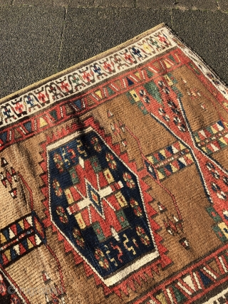 Antique Kurdish rug with a beautiful camel ground color, size: 187x110cm / 6'2''ft x 3'6''ft