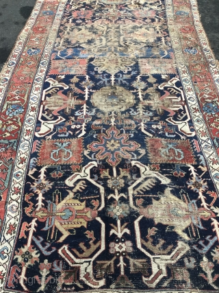 Early archaic Northwest Persian or Kurdish rug. Age: circa 1800, size: ca. 530x180cm / 17'4''ft x 6ft . Very old, some obvious condition problems