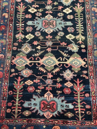 Antique Persian Hamedan rug, navy blue ground color, size: ca. 200x110cm / 6'6''ft by 3'6''ft