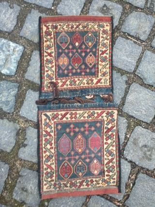 Antique Shahsavan doublebag woven in Soumakh technique, size: ca. 58x26cm / 1'9''ft x 0'9''ft , very nice collector´s piece.