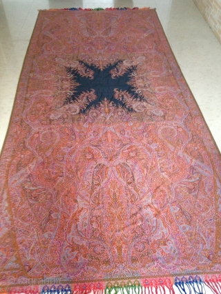 Rare master peace of antique French Paisley shawl. With figures of king and dancing queen.It is in exceptional condition haven't find any single moth hole on it.  The coloures are very  ...