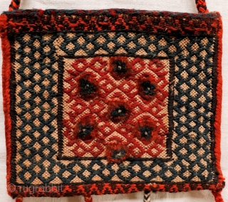 Cute small little bag woven by Bakhtiri nomads from Iran. It combines kilim and knotted areas. Both sides of the bag are worked (back and front). All natural dyes except for the  ...