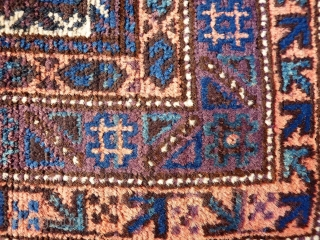 A coarsely woven Belouch prayer rug with a very tribal feel. The handling of the piece is similar to a loose gabbeh. Very soft and shinny wool. The field and the outside  ...