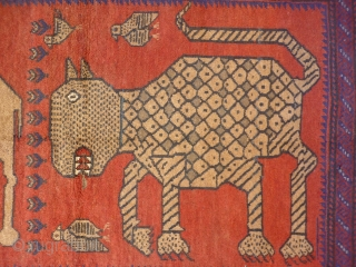 Although not so old, I love this very expressive rug woven by Belouch nomads from Herat region of Afghanistan. The fangs, the pelt, the claws etc. are like a cubist painting, that  ...