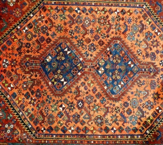 A rug woven by Arab groups in the south of Iran. All the dyes are natural and the dyer has achieved a fantastic range of colours including mustard, terracotta and emerald green.  ...
