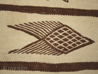 Berber kilim cod. 0282. Undyed wool. Algeria ?. First half 20th. century. Very good condition with just one small hole. Dimension cm. 157 x 295 (62 x 116 inches).