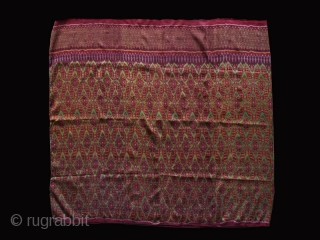 """Ikat Sampot (Sarong)cod. 0680. Silk, natural dyes with brilliant colors. Cambodia. Circa early 20th. century. Extremely finely woven. Handstitched to form a tube. Dimension cm 180 x 90 (71"""" x 35"""") The bold  ..."""