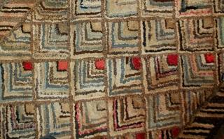 Handmade antique American hooked rug 2' x 3' ( 61cm x 91cm ) 1900s - 1B497