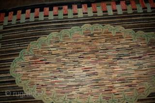 Handmade antique American hooked rug 4.9' x 7.6' ( 149cm x 231cm ) 1880s - 1B511