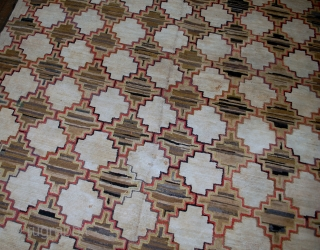 Handmade antique American hooked rug 5.10' x 7.9' (180cm x 241cm) 1880s - 1B538