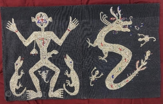 Indonesia textile with shell and glass beads dragon,104 x 58 cm, www.eymen.com.tr