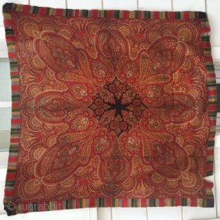 Antique kashmir shawl,pure silk, 145 x 145 cm . www.eymen.com.tr