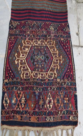 Anatolian kurdish saddle bag with weaving kilim opened,264 x 78 cm