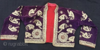 Ottoman jacket welvet with silver emroidery,136 x 45 cm.