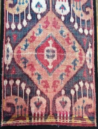 19th century silk velvet ikat panel,92 x 34 cm