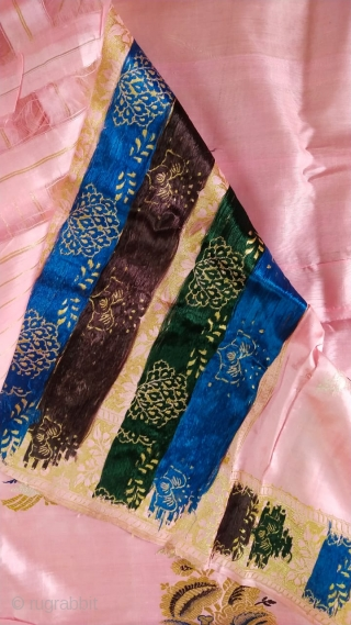 Pink colour royal vintage sari from central India 1900 C. Made in pure silk with real zari and the silk is from Assam and woven in Madhya Pradesh India also called as  ...
