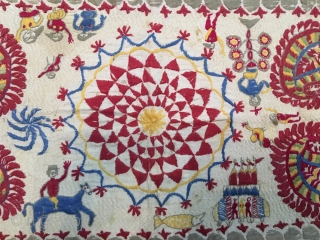 Rumal size rare Kantha from West Bengal India C.1900 with one of the subject related to Krishna life story one of the rare subjects in Kantha with fine hand needle embroidery work  ...
