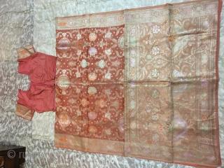 Vintage chanderi silk sari with real Zari with blouse  from Ashok Nagar  district of Madhya Pradesh India  the sari is in mint condition.