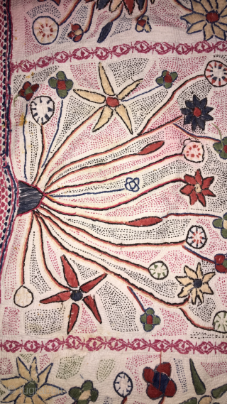 Vintage Kantha from Murshidabad district of West Bengal India  C.1900. Made from finest cotton with cotton hand needle embroidery at its best quality of suzani Kantha  the size of tha  ...