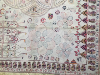 Vintage  temple Kantha(quilt) from Ramnagar village of Murshidabad district of West Bengal India C.1900 reversible hand embroidered with very fine motifs and beautiful border of ambi (mango design)the quilt is in  ...