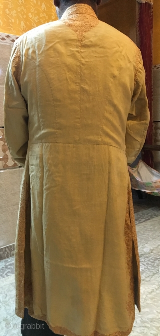 Rare fine Parsi choga used by the Parsi community for various ceremonies 1900.C the size of the coat is size 40