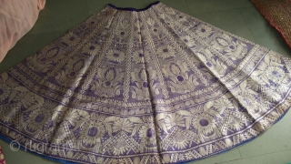 Brocade real Zari (silver tread work)skirt from Benaras Uttar Pradesh India used my the royal family in India these style is also called khali ghagra. The size of the skirt is 100cm  ...