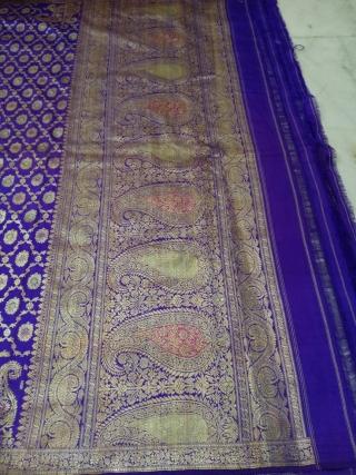 Vintage pitambari sari from Varanasi India of real zari used by the royal family's in India the size of the sari is 196 inches X 42 inches . The sari is in  ...