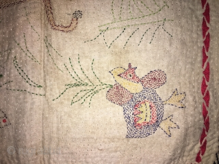 Very fine work vintage small size Kantha from rangpur district of Bangladesh hand embroidered very fine needle work with beautiful subjects of deer with baby ,frog,butterflies,hen and human family in it the  ...
